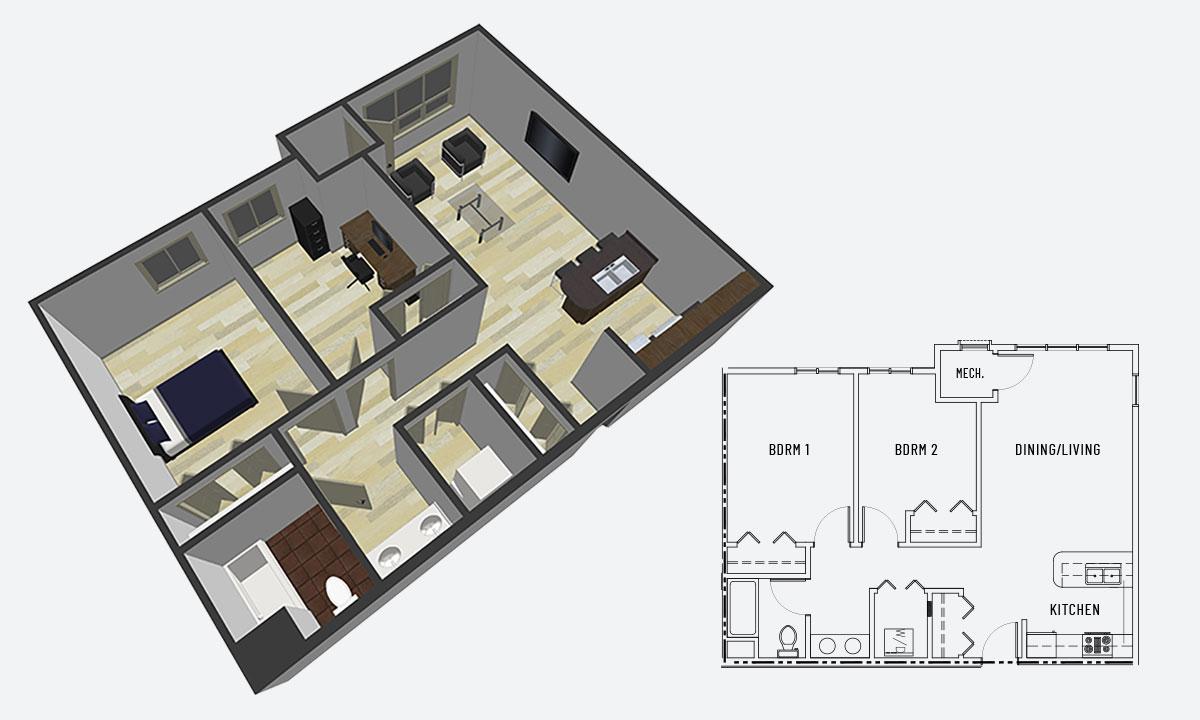 Island City Properties 2 Bedroom Apartment Option A
