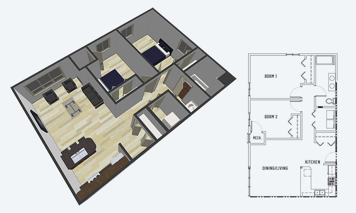 Island City Properties 2 Bedroom Apartment Option C