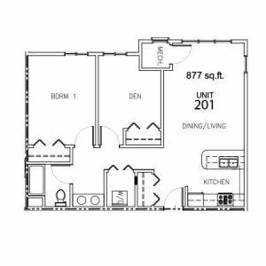 Unit 201 - 877 Sq. Ft.