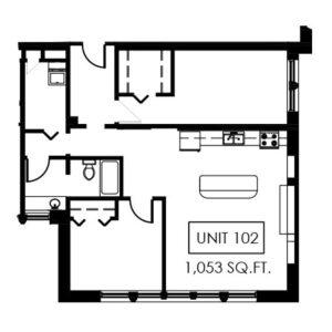 Unit 102 - 1,053 Sq. Ft.